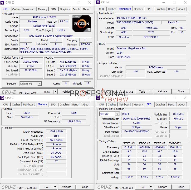 Asus TUF Gaming X570 Pro Wi-Fi CPU-Z