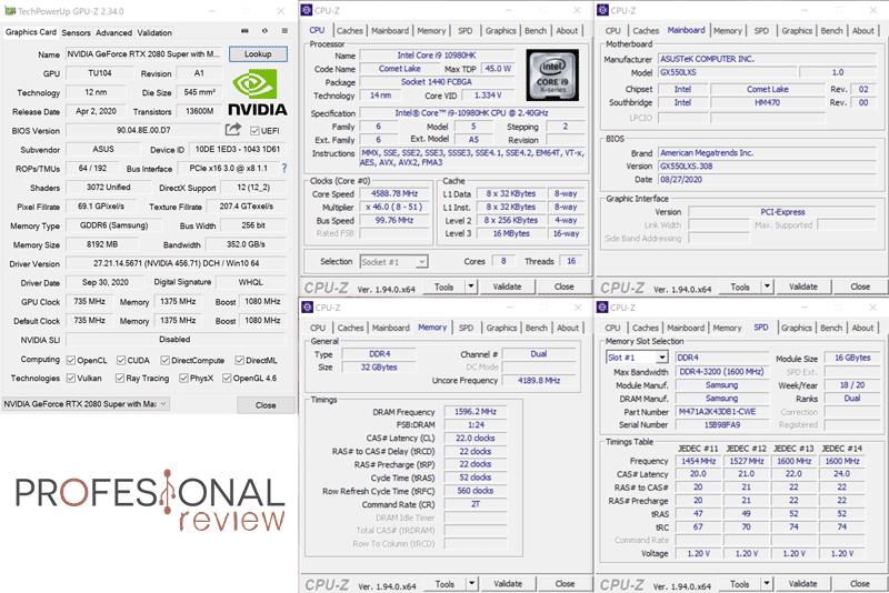 Asus Zephyrus Duo 15 GX550L CPU-Z