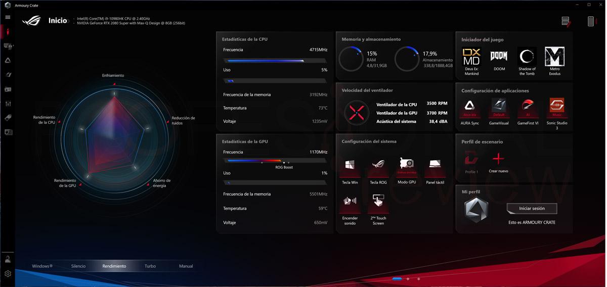 Asus Zephyrus Duo 15 GX550L Software