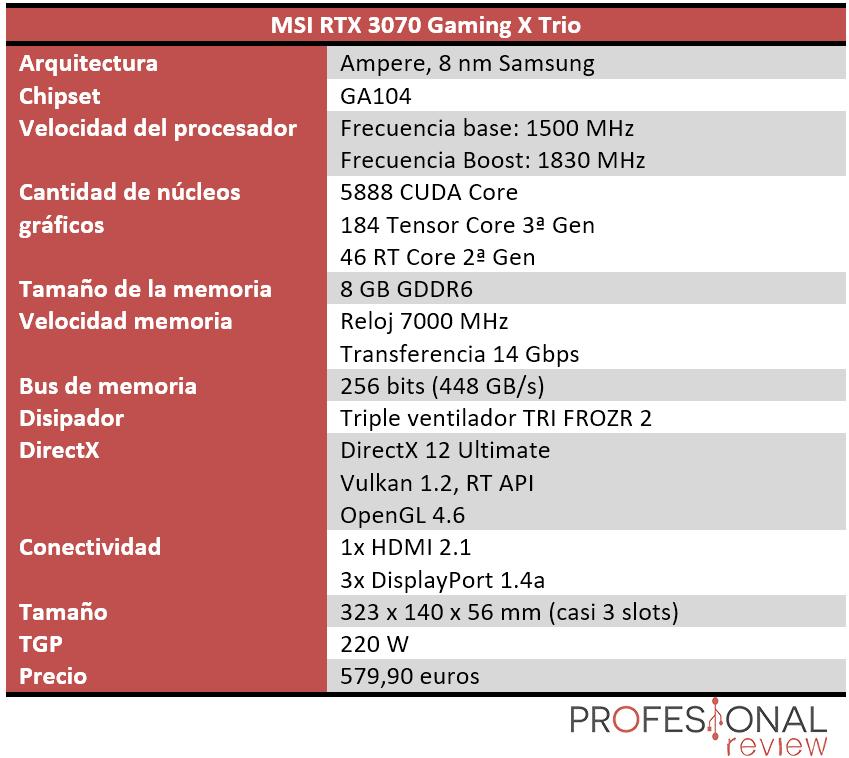 MSI RTX 3070 Gaming X Trio Características