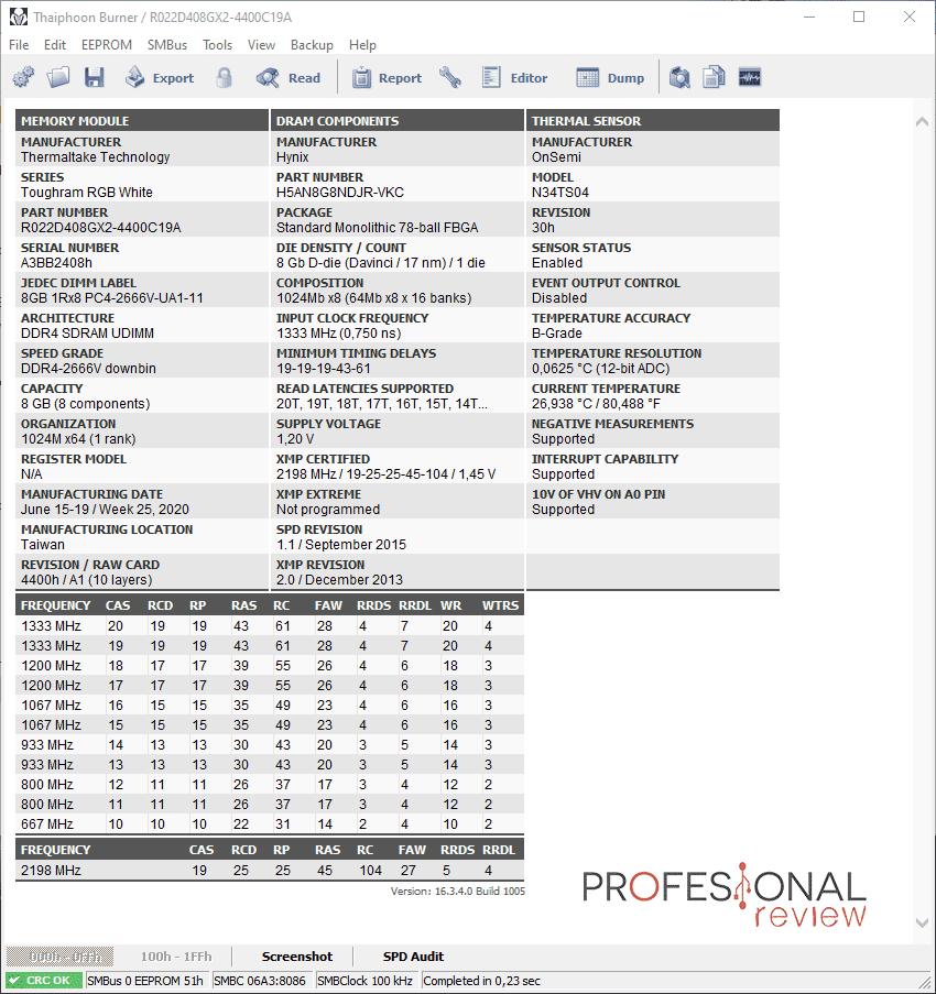 Thermaltake Toughram RGB 4400 Especificaciones