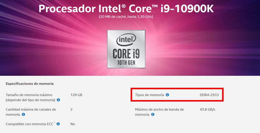Tipo de memoria RAM máxima en i9-10900K