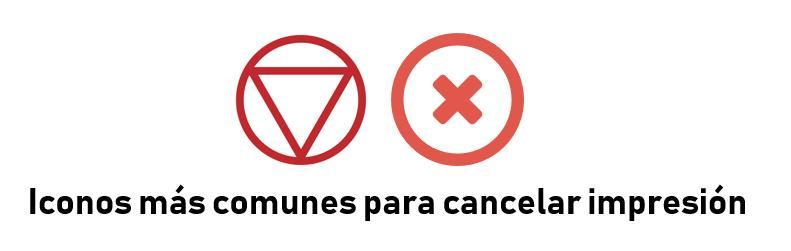 Iconos para cancelar impresora atascada
