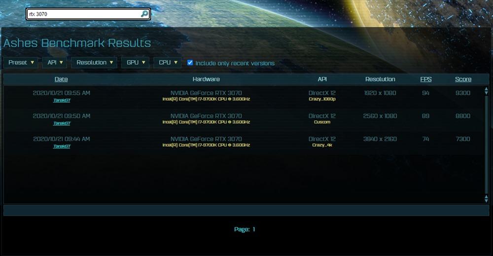 rtx 3070 benchmark