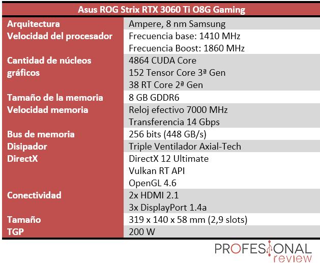 Asus ROG Strix RTX 3060 Ti O8G Gaming Características