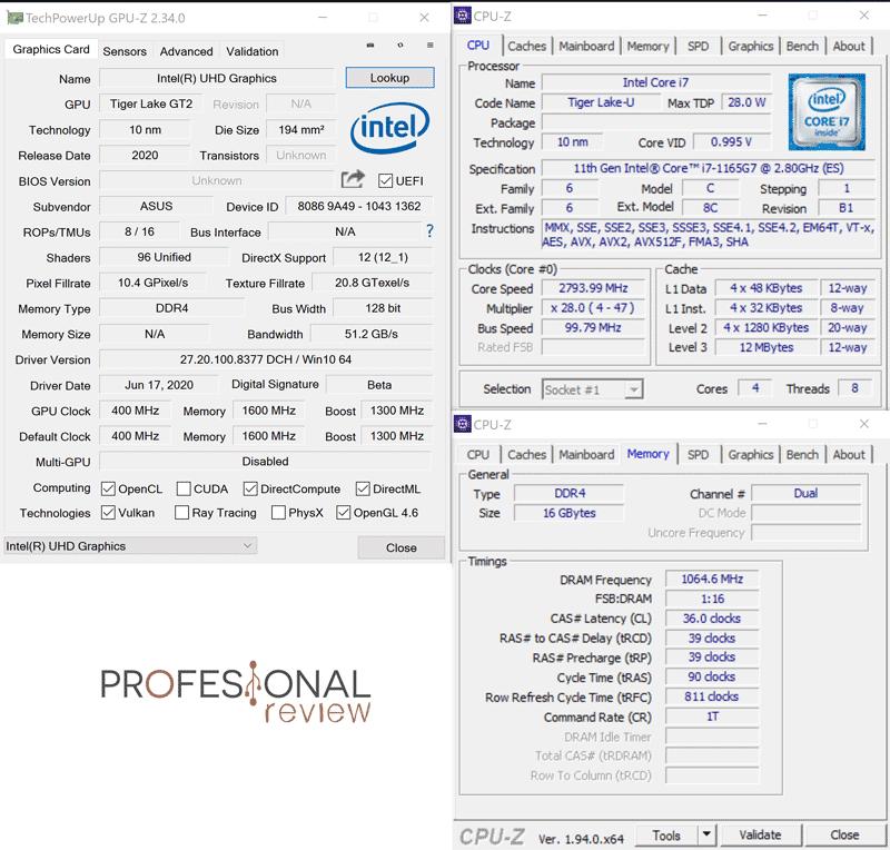 Asus Zenbook Flip S UX371 CPU-Z