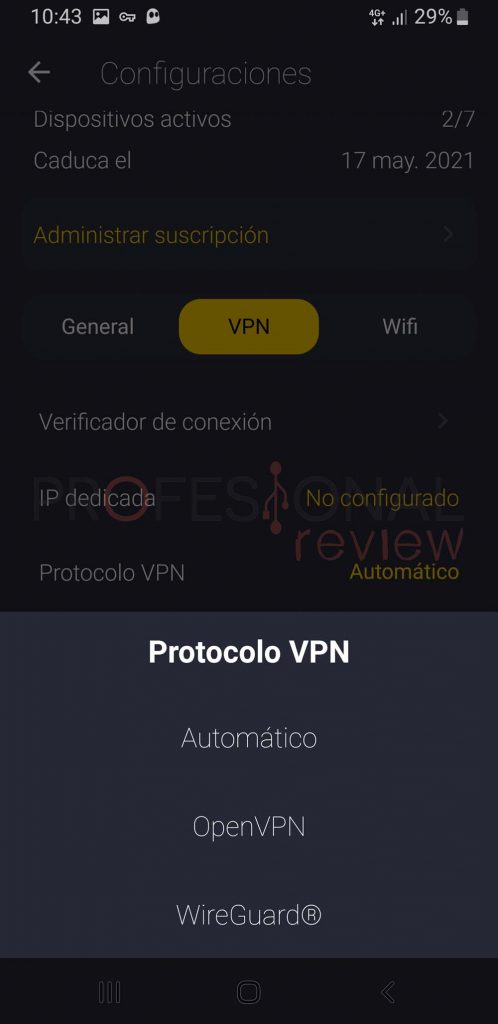 protocolo vpn cyberghost android
