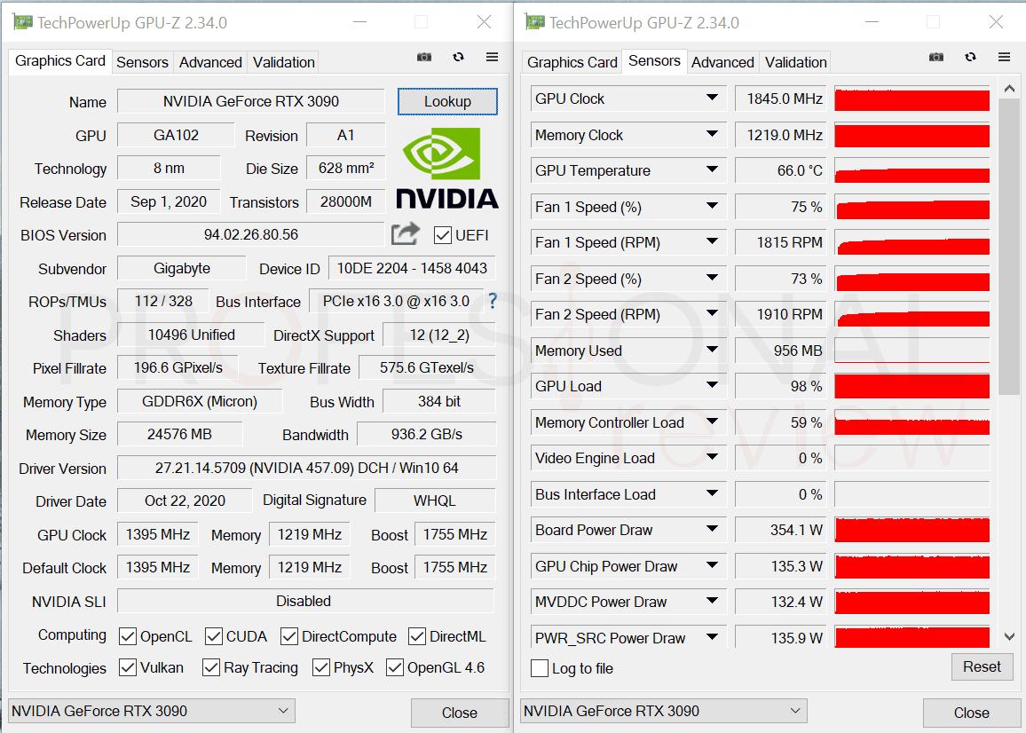 Gigabyte RTX 3090 Gaming OC 24G CPU-Z
