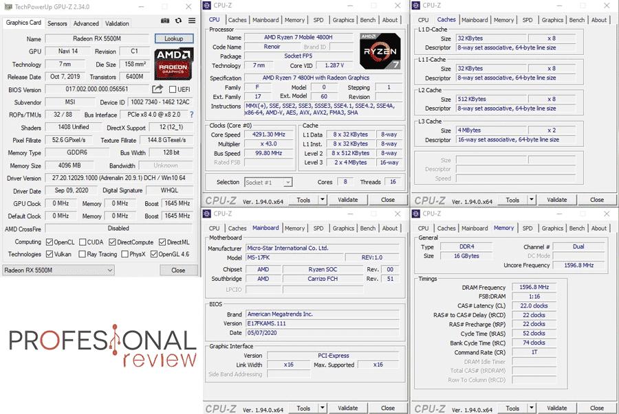 MSI Bravo 17 CPU-Z