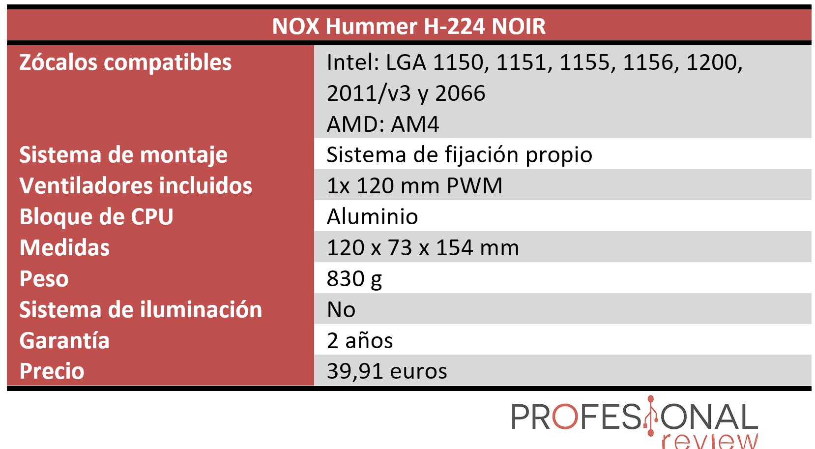 Hummer H-224 NOIR Características