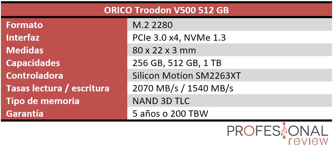 ORICO Troodon V500 Características