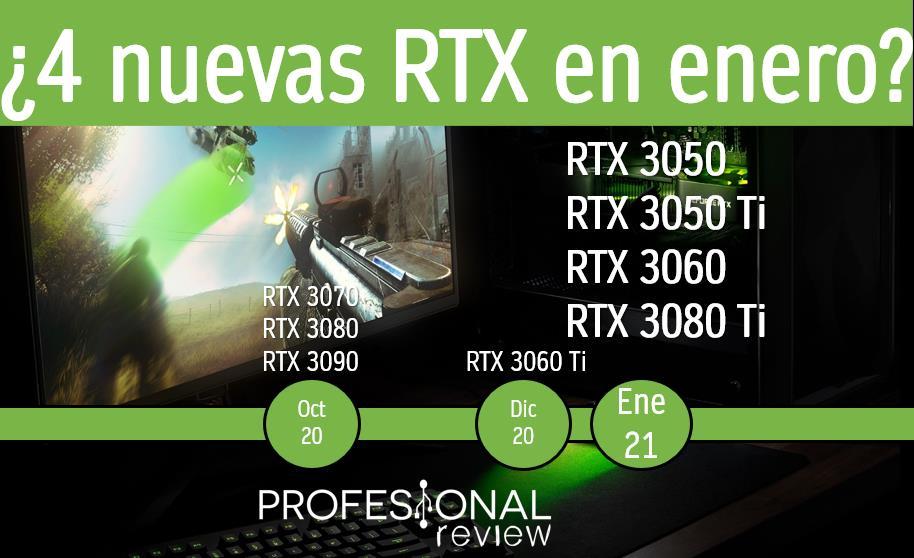 RTX 3060 y 4 graficas mas en enero