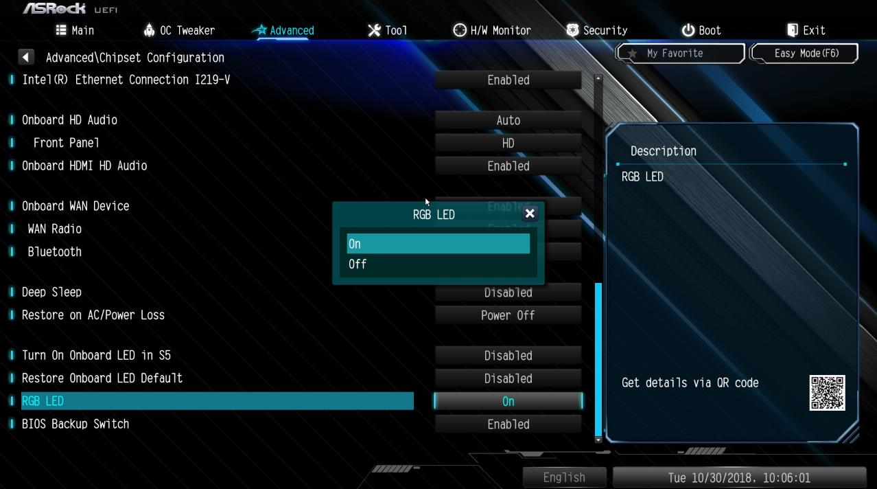 Apagar luces LED RGB ASRock BIOS