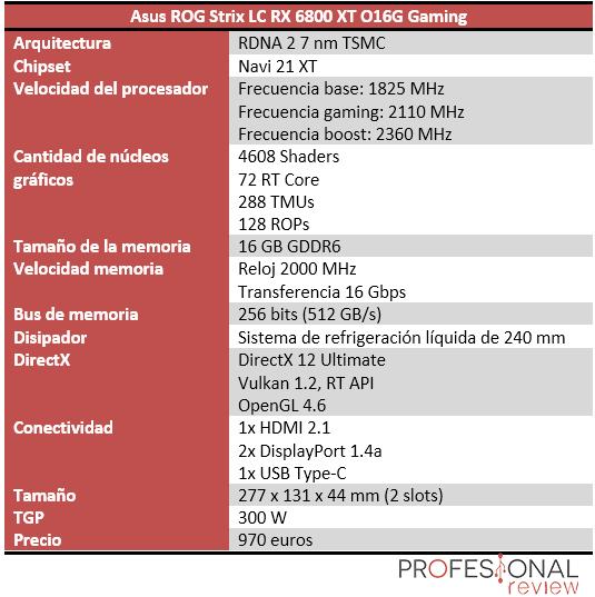 Asus ROG Strix LC RX 6800 XT O16G Gaming Características