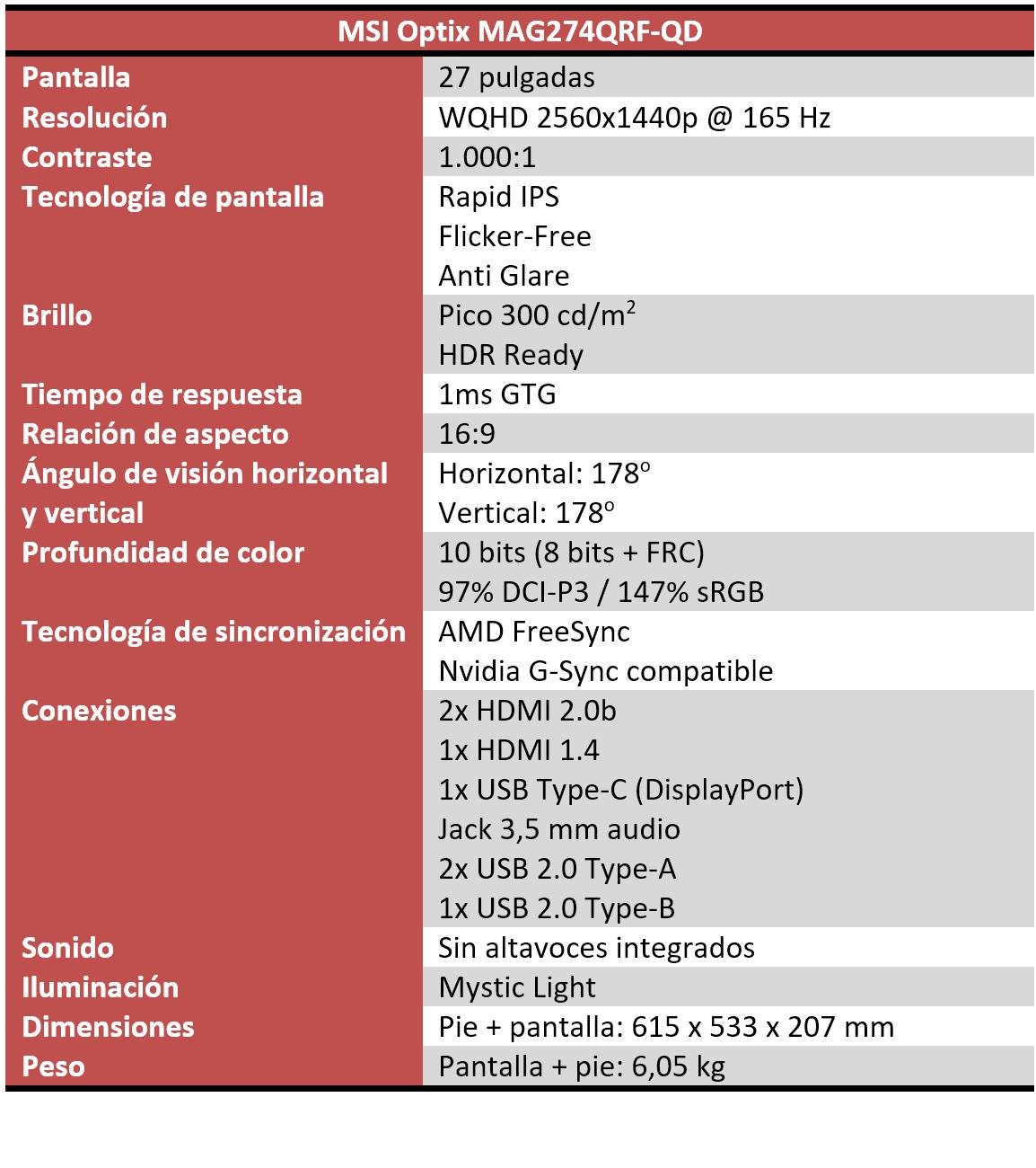 MSI Optix MAG274QRF-QD Características