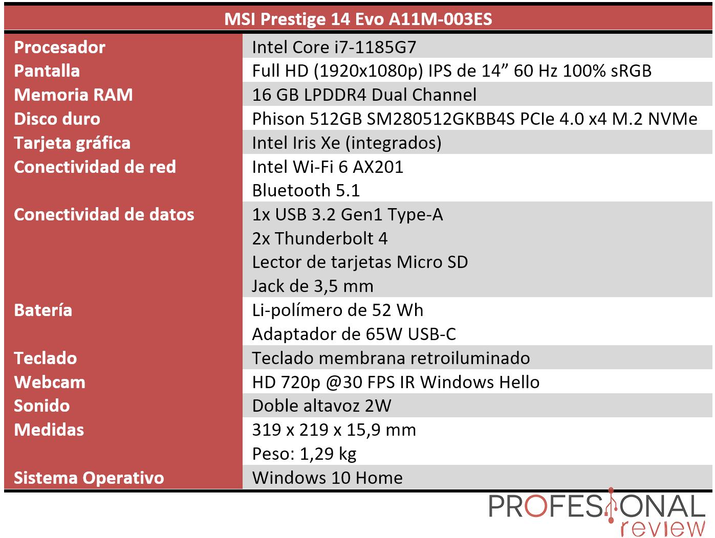 MSI Prestige 14 Evo Características