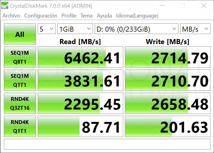 Samsung-980-Pro velocidad escritura