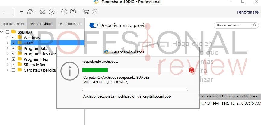 Tenorshare 4DDIG recuperar archivos eliminadosPC
