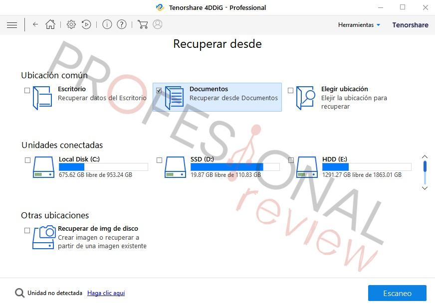 Tenorshare 4DDIG recuperar archivos formateados PC