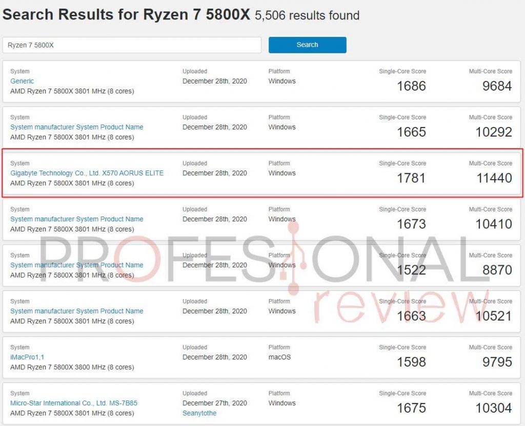 Ryzen 7 5800X Geekbench 5
