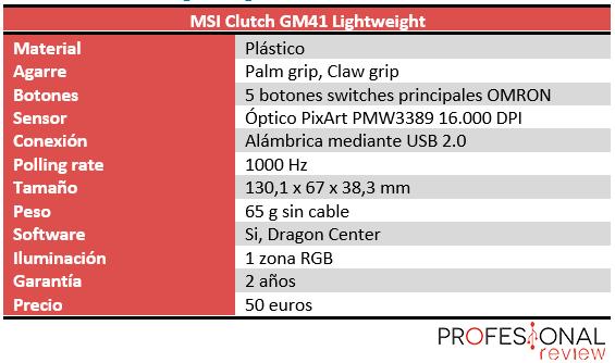 MSI Clutch GM41 Lightweight Características
