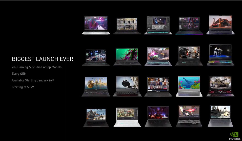 NVIDIA RTX 3060 3070 3080 portátiles lanzamiento