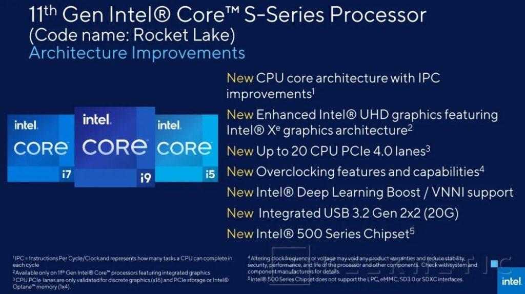 especificaciones Intel Rocket Lake-S