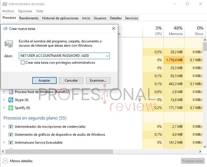 crear cuenta de usuario administrador tareas