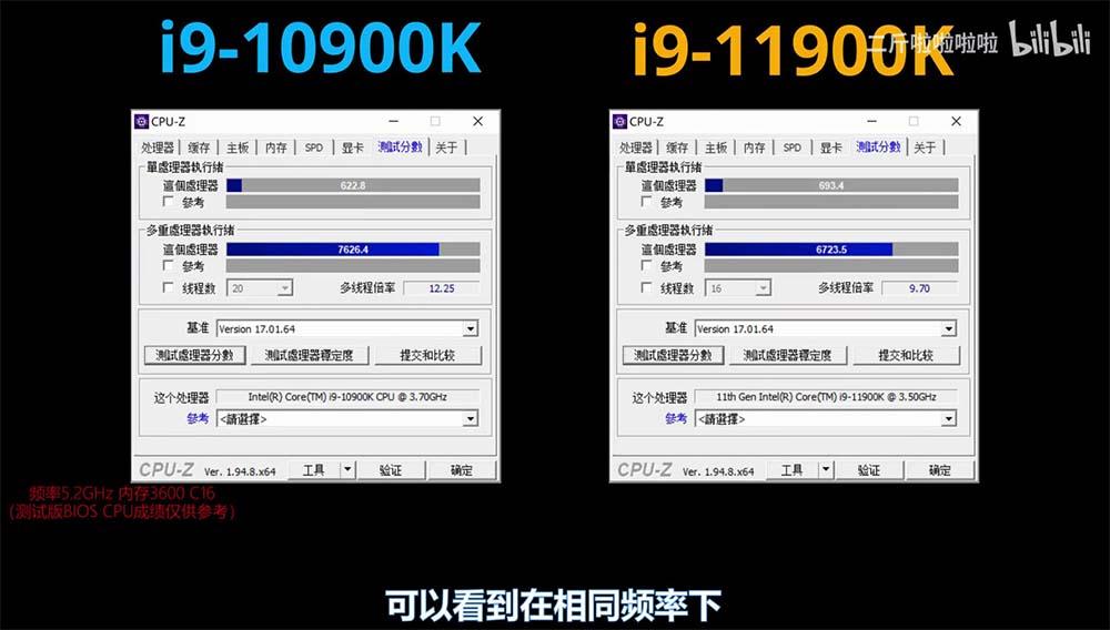 i9-10900k i9-11900k CPU-Z