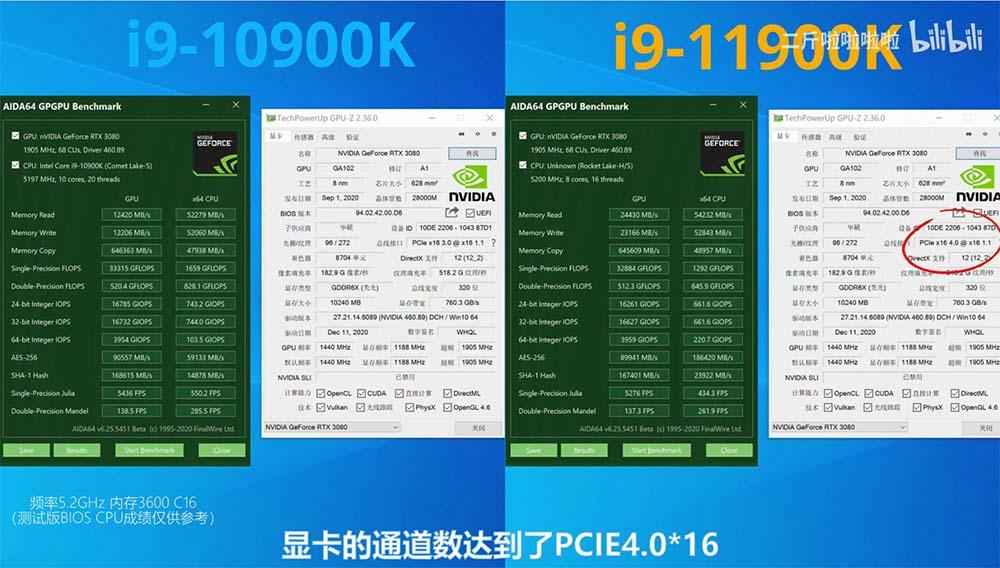 i9-10900k i9-11900k GPU-Z AIDA