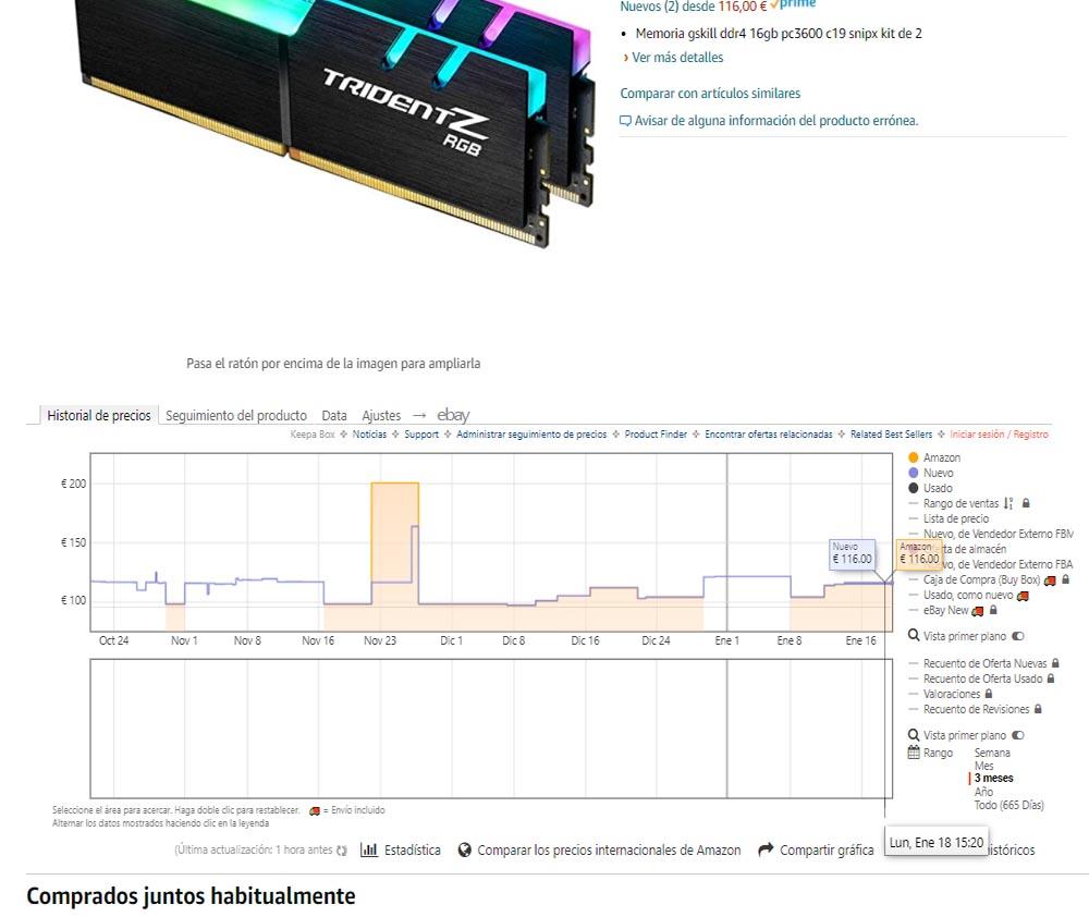 precio memoria RAM Amazon