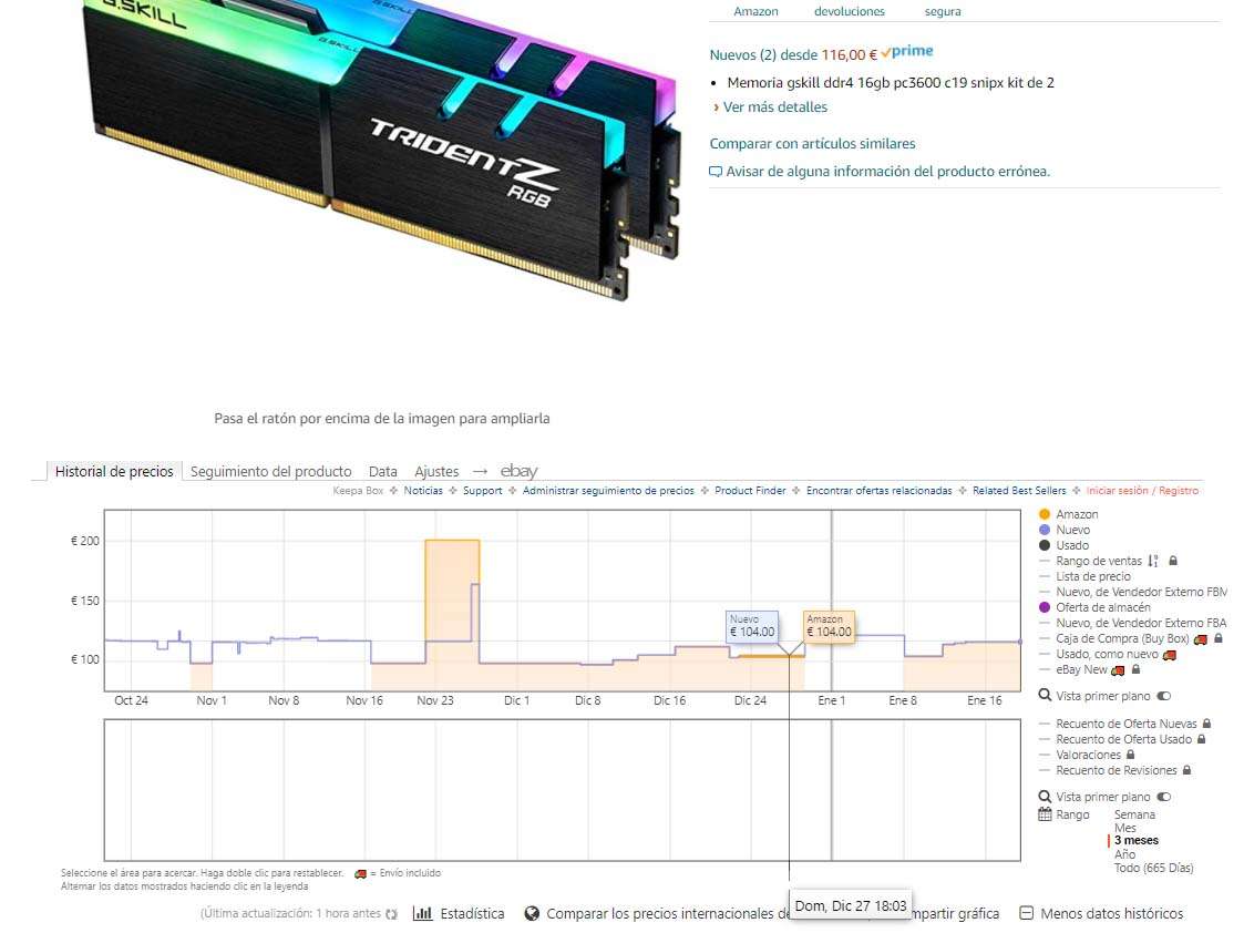 precio memoria RAM