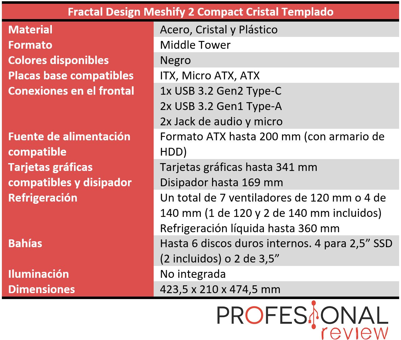 Fractal Design Meshify 2 Compact Características