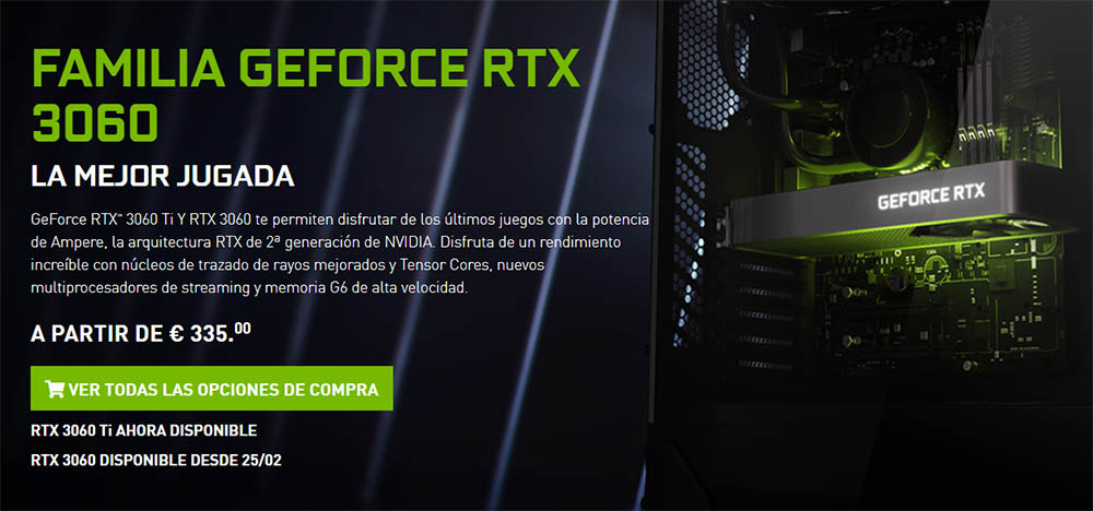 nvidia RTX 3060 precio