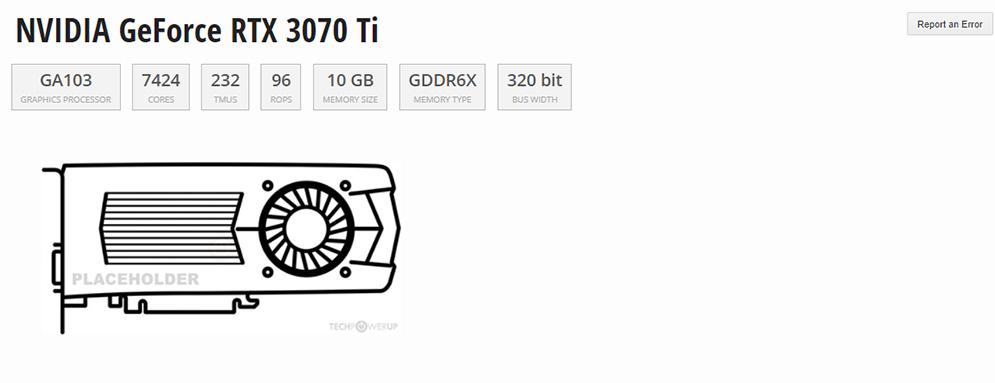 especificaciones RTX 3070 ti