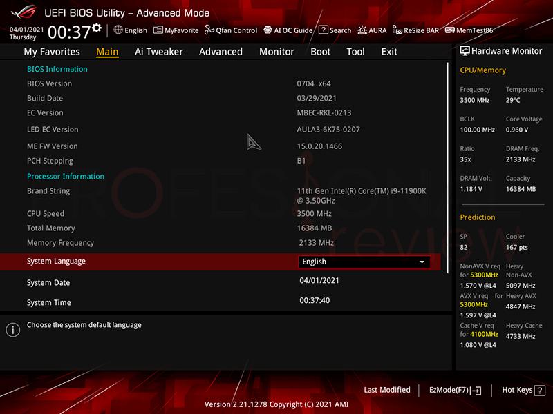 Asus ROG Strix Z590-F Gaming WiFi BIOS
