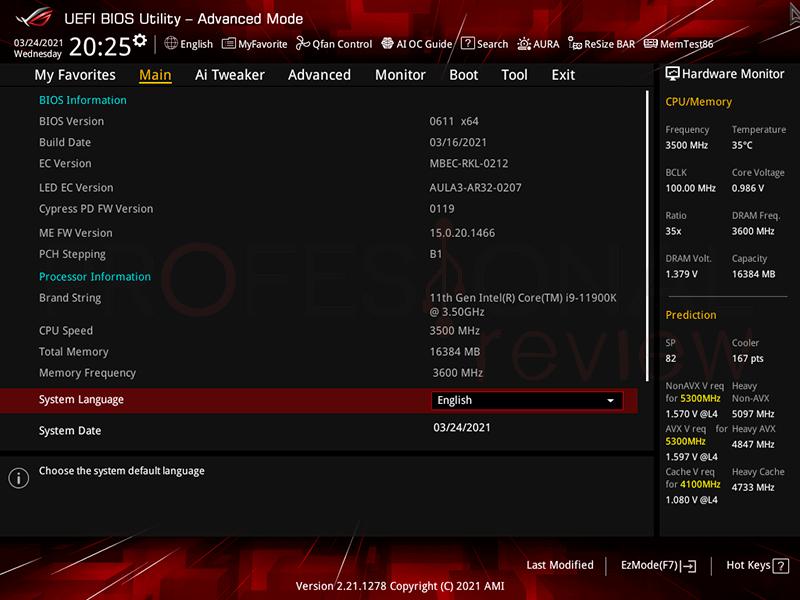 Asus ROG Strix Z590-I Gaming WiFi BIOS