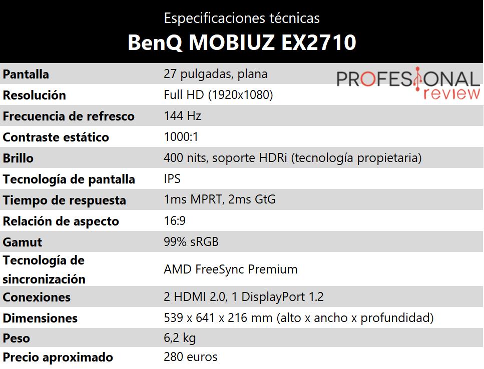 BenQ Mobiuz EX2710 Especificaciones tecnicas