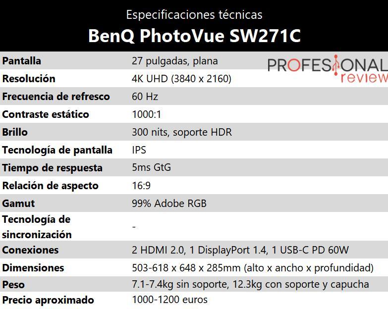BenQ PhotoVue SW271C especificaciones tecnicas