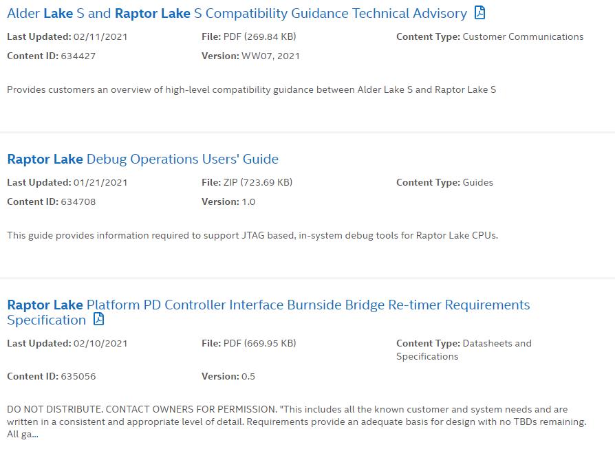 Filtracion Intel Raptor Lake