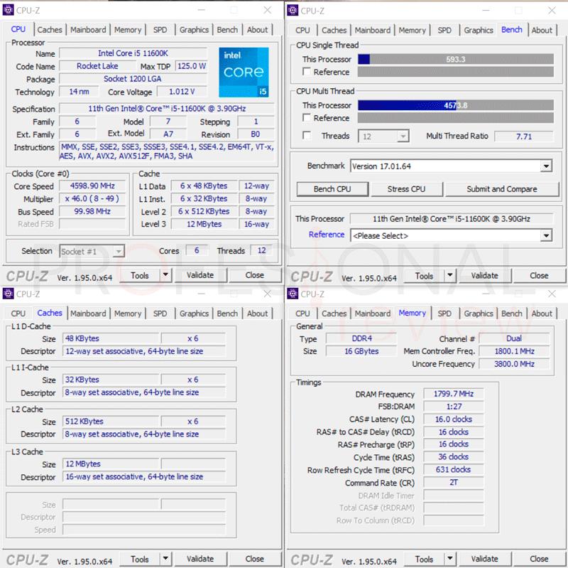 Intel Core i5-11600K CPU-Z