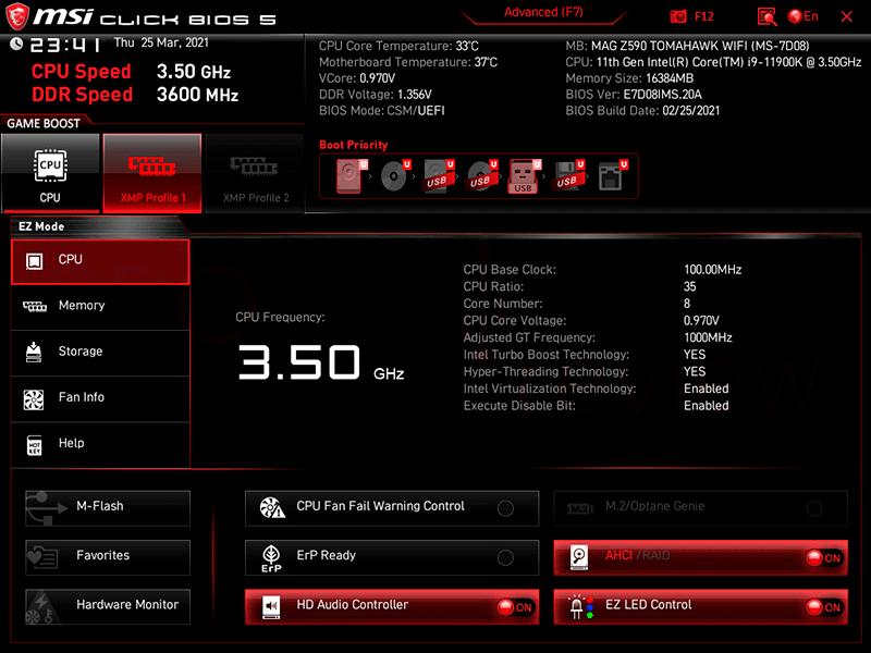 MSI MAG Z590 Tomahawk WiFi BIOS