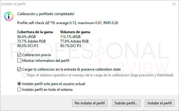 MSI MPG ARTYMIS 343CQR Calibración