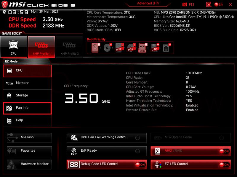 MSI MPG Z590 Carbon EK X BIOS