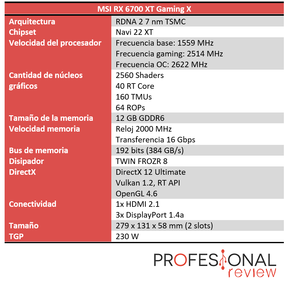 MSI RX 6700 XT Gaming X Características