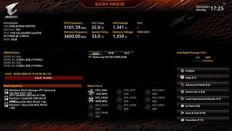 Z590 AORUS Master BIOS