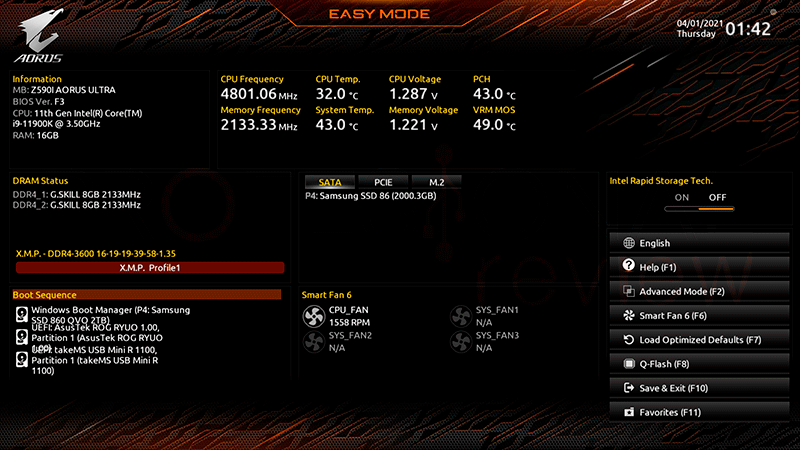 Z590I AORUS Ultra BIOS