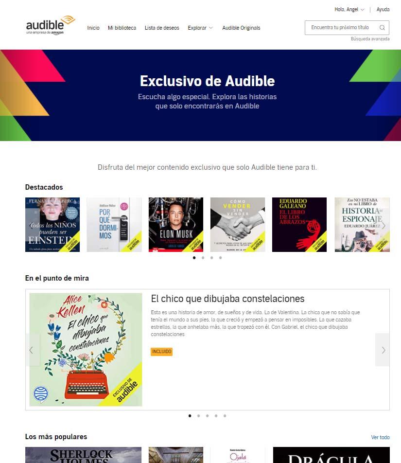 catálogo exclusivo de Audible