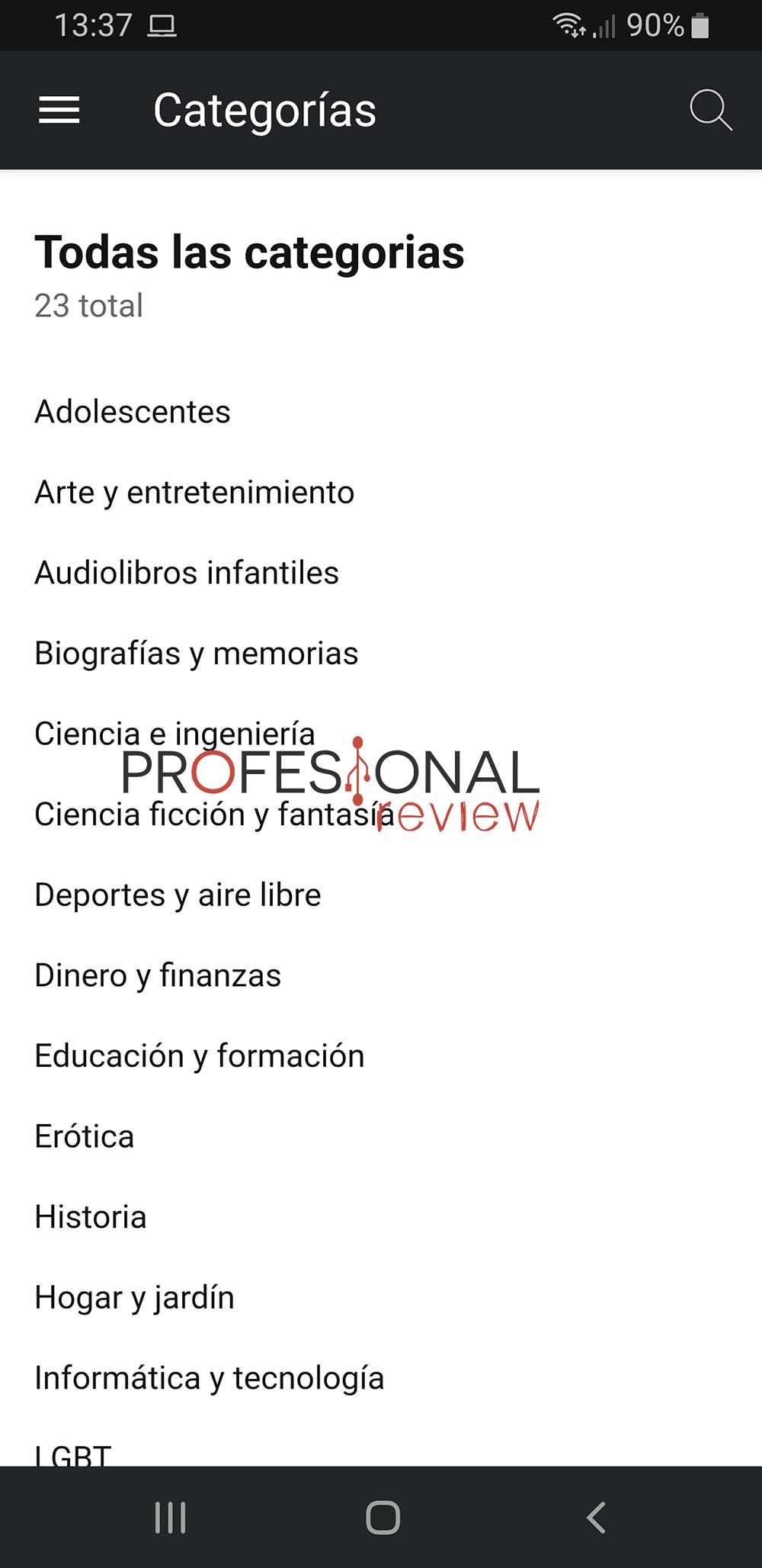 categorías audible móvil