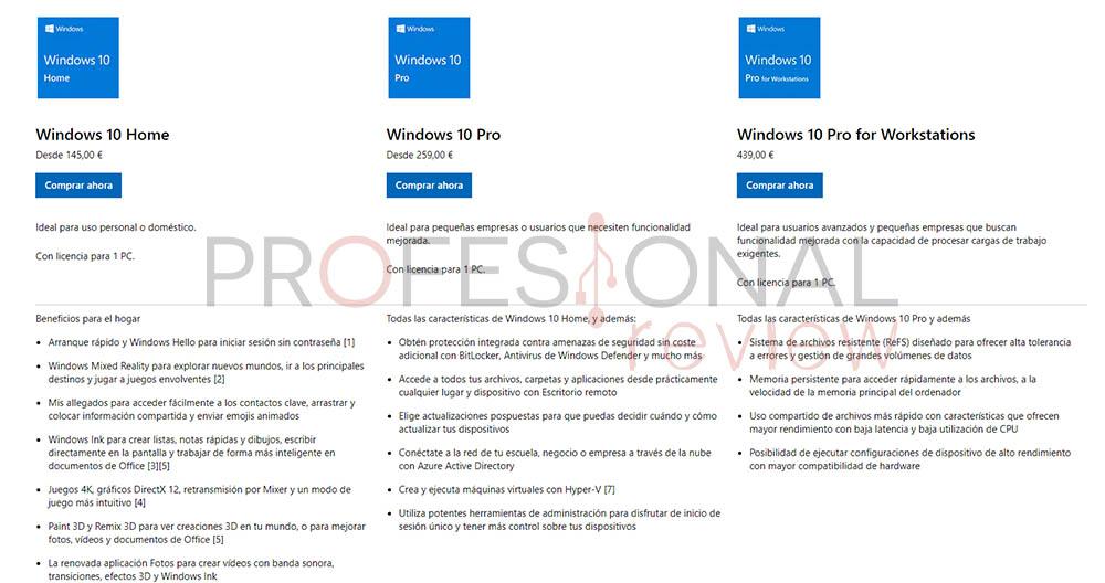 windows 10 versiones